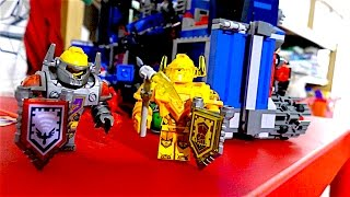 Lego knights with motorbikes and castle on the wheels
