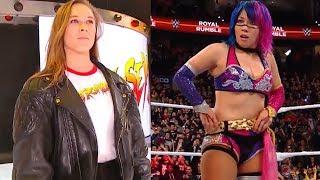 Ronda Rousey CRASHES Asuka's 2018 WWE Women's Royal Rumble Celebration