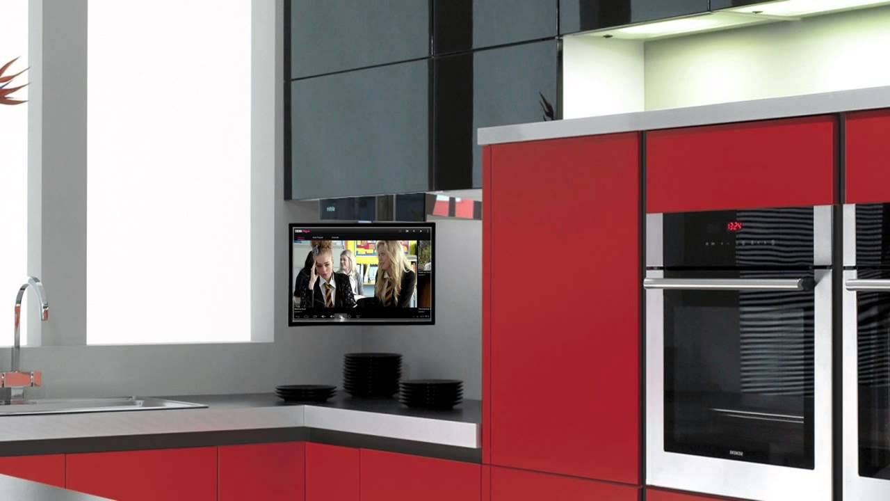 Interior Under Kitchen Cabinet Tv eidola under cabinet flip down smart kitchen tv youtube