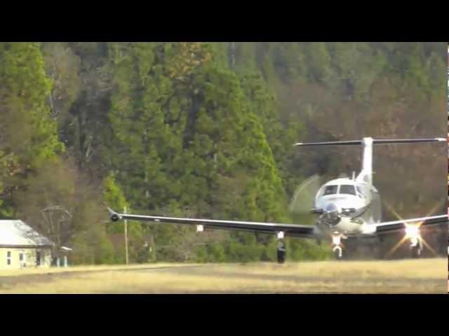 Pilatus PC-12 N828VV departing Brownsville airport California. 12-2011.