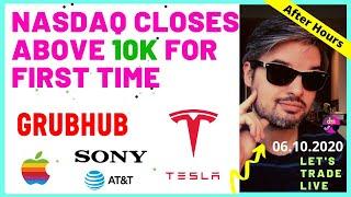 Grubhub News Update + Tesla Tops $10k + Nasdaq Above 10k = Stocks After Hours