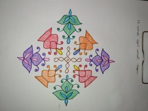 17 * 1 Dots Straight Lines Kolam - 17 Simple Kolam Designs with dots