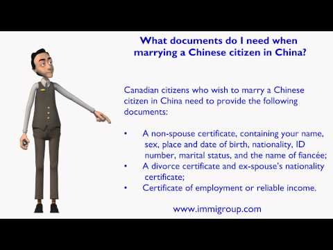 What documents do I need when marrying a Chinese citizen in China?