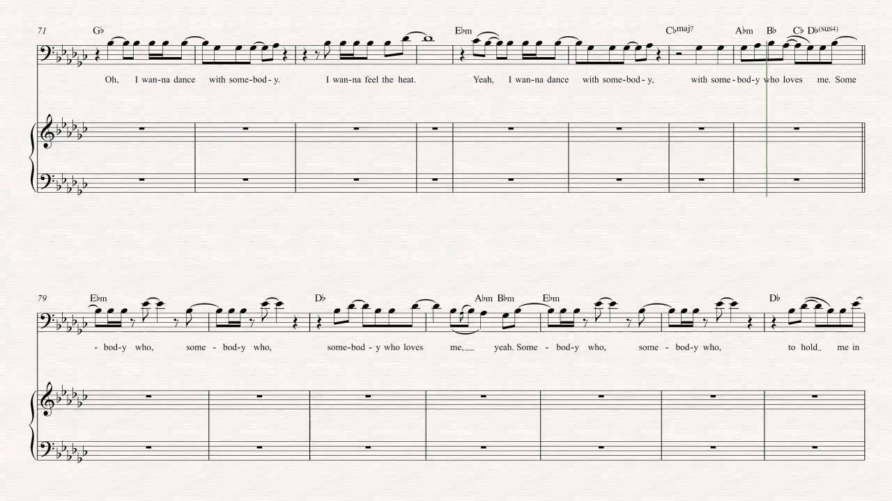 Trombone I Wanna Dance With Somebody Whitney Houston Sheet Music