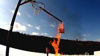 Boomerang Trick Shots in a basketball hoop first ever EPIC WIN    world record shots