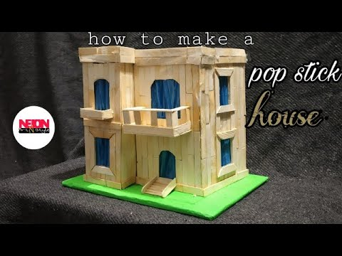 How to make a popsicle sticks house//popstick house//building making