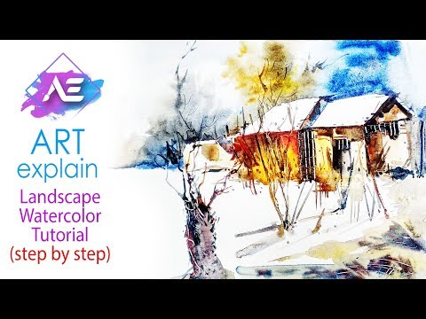Watercolor Landscape Painting  Tutorial | How to paint a watercolor landscape | Art Explain