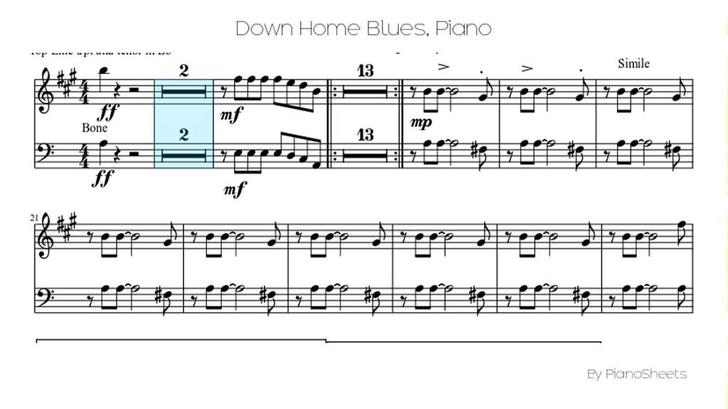 Piano easy piano blues sheet music : Down Home Blues [Piano Solo] - YouTube