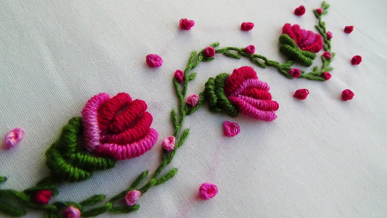 Hand Embroidery: Brazilian Embroidery Flowers - YouTube
