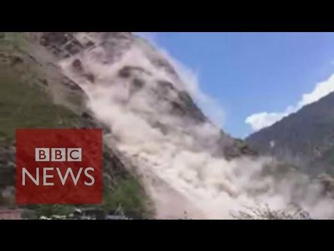 Nepal Earthquake: Land slide caught on camera - BBC News