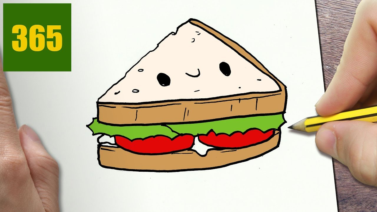 how to draw a s193ndwiches cute easy step by step drawing