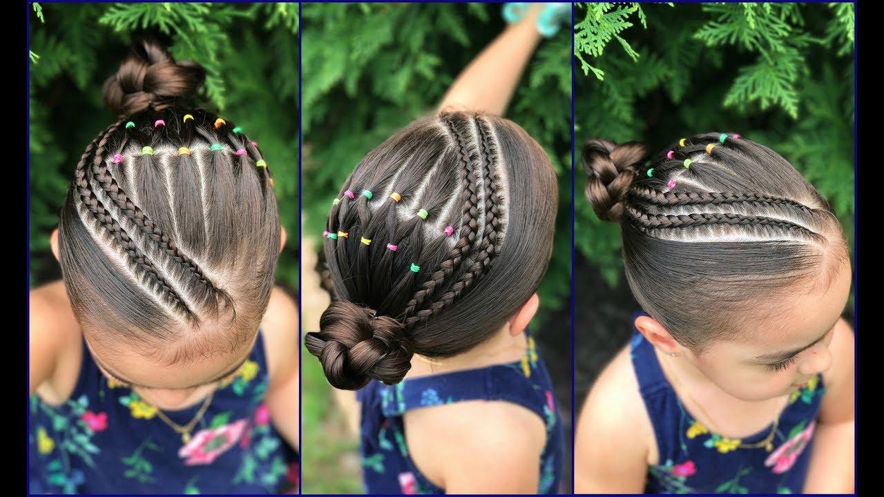 Peinados Para Ninas Con Ligas Arcoiris Y Trenzas Pegadas Peinados