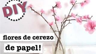 DIY DECORACION PRIMAVERA | COMO HACER FLOR DE CEREZO CON PAPEL CREPE