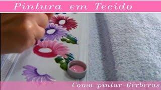 Pintura em tecido flor gérbera