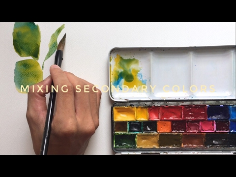 mixing secondary colors + using chinese brushes - watercolor