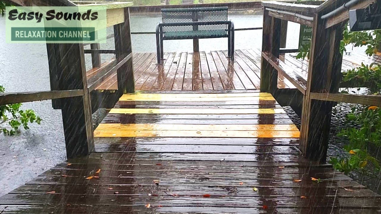 HEAVY Rain on Saltwater Canal Pier-Distant Thunder & RAIN for DEEP Sleep and Relaxation by the Water