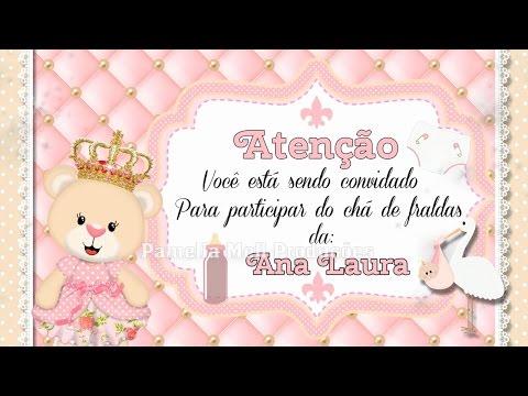 Convite Animado Chá de Fralda Ursinha Princesa by Pamella Mell