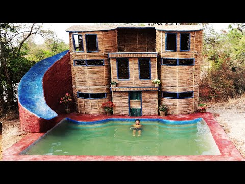 How To Build Three Floor House, Slide Pool and Swimming pool In Forest