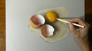 Drawing of a broken egg - How to draw 3D art