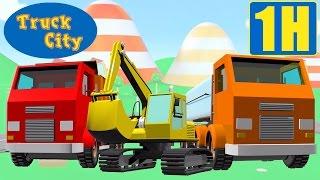 Máy xúc, Tháp cẩu, Xe ben , Thành phố xe tải| hoạt hình về xe tải xây dựng dành cho thiếu nhi