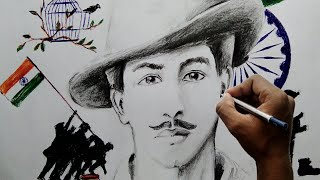 How to draw Shahid Bhagat Singh step by step for Beginner