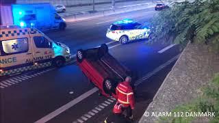 30.05.2018 Bil endte på taget under ulykke, Gentofte