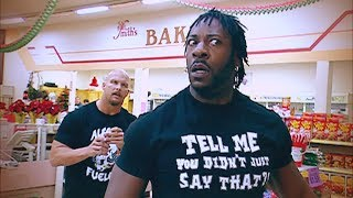 """""""Stone Cold"""" Steve Austin and Booker T brawl it out inside a grocery store"""