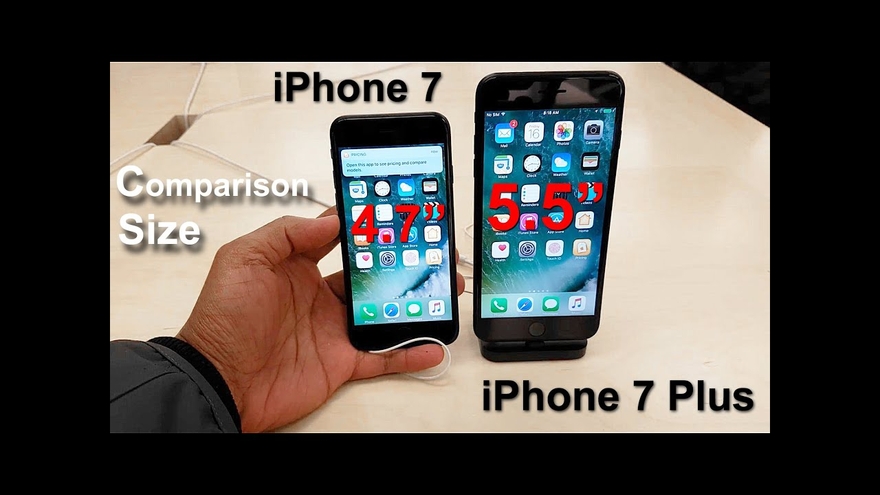 iPhone 7 vs iPhone 7 Plus , Size Comparison (S7 Edge 4K video with the DJI  Osmo Mobile)