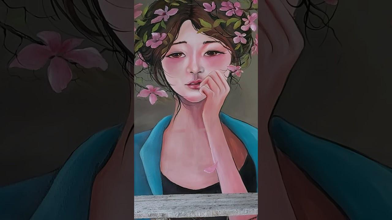 Vẽ tranh tường cô gai 3D cho quán Cafe, trà sữa tại Hai Bà Trưng, Hà Nội – Vẽ tranh nghệ thuật cực đ