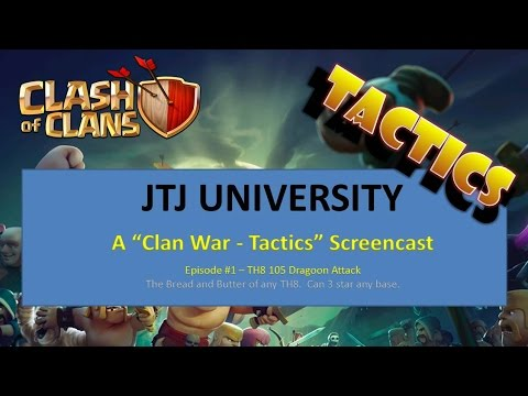 Clash Of Clans -- Clan War Tactics -- TH8 -- 105 Dragoon Attack Style