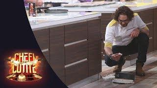 Accident în bucătărie! Chef Florin Dumitrescu i-a scăpat pe jos tortul lui Chef Cătălin Scărlătescu