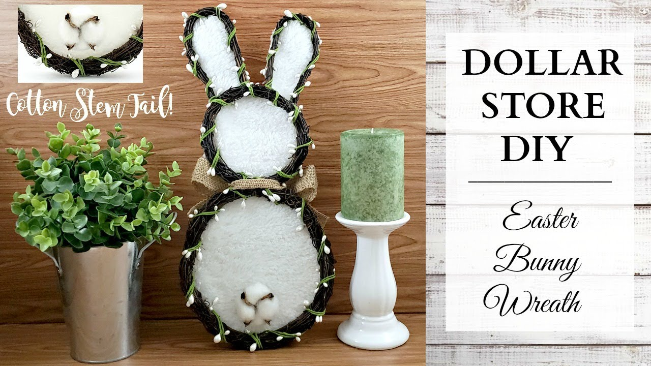 Dollar Store DIY Cotton Stem Tail Bunny Wreath Rustic Spring Easter Home Decor