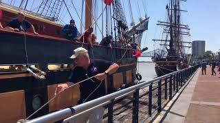 Watch tall ship Oliver Hazard Perry toss its final line ashore in New Orleans