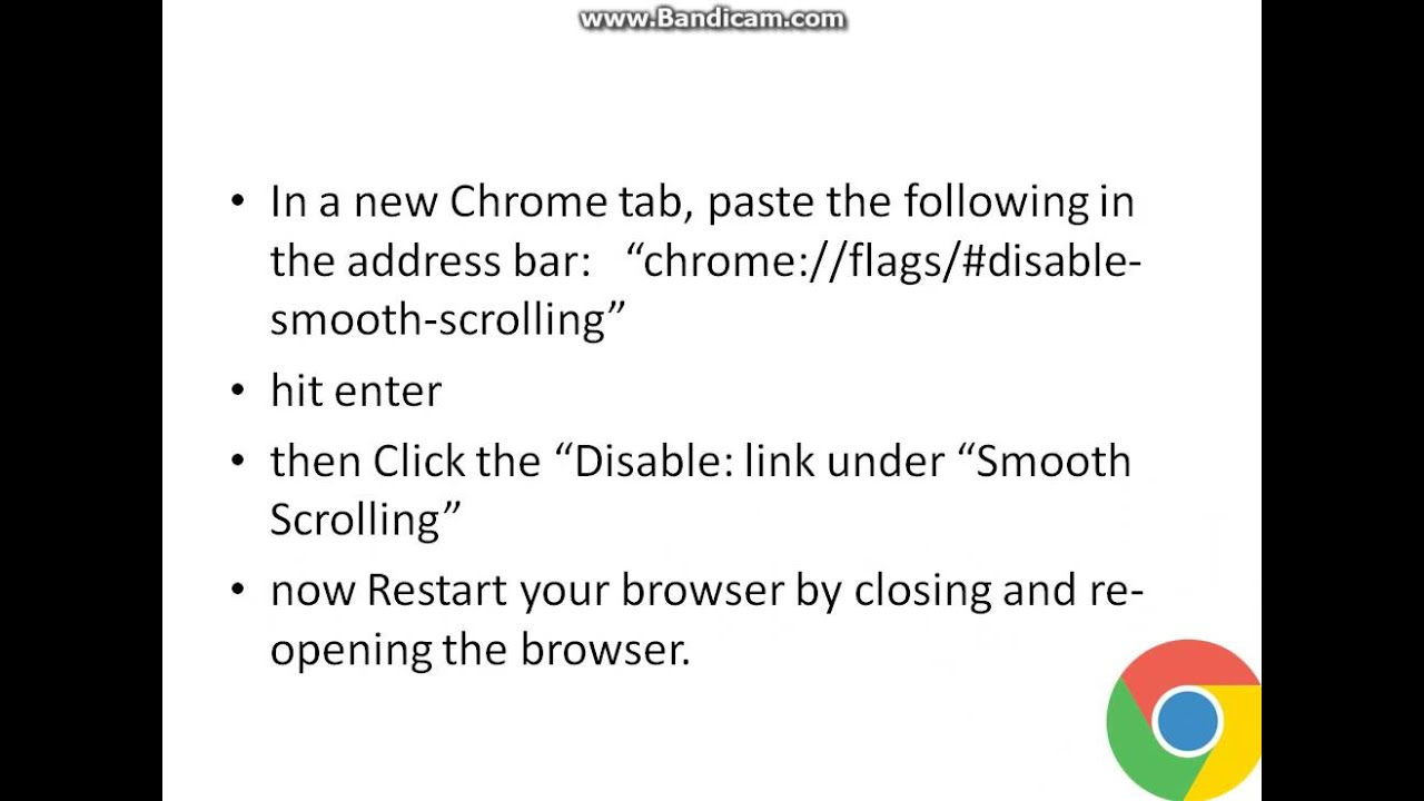 Simple Google Chrome Smooth scrolling Fix