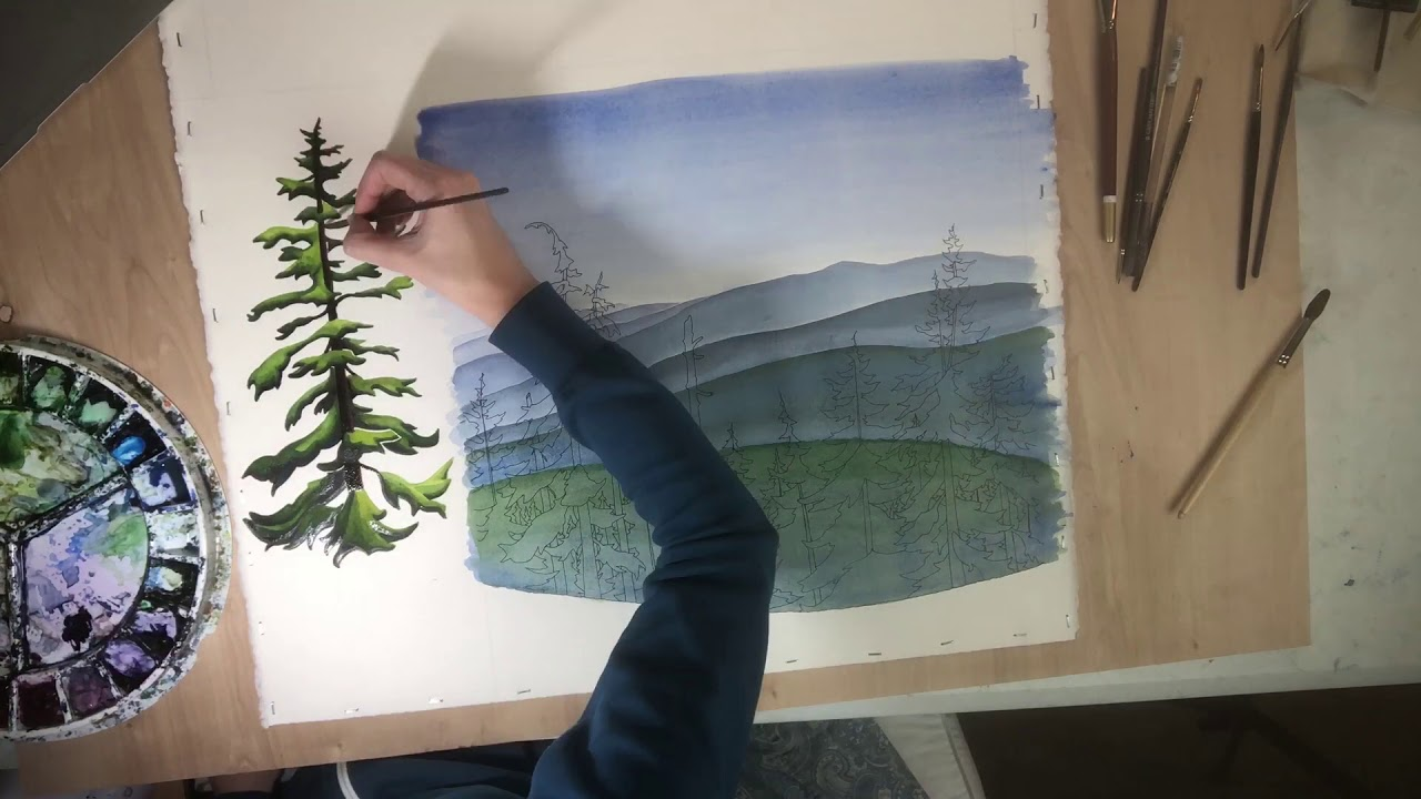 Time-lapse of trees painting, creative process