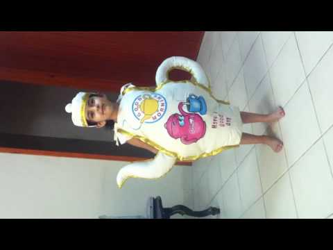 'Tanvi' as a tea pot in the fancy dress competition In LKG