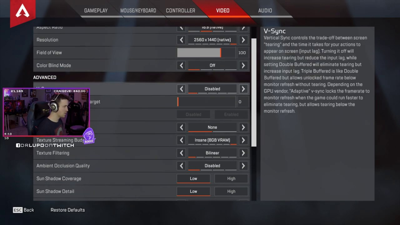 Dr Lupo Apex Legends Settings, Keybinds ...