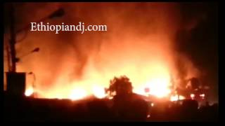 "ETHIOPIA - Gonder's biggest market place ""Kidame Gebeya"" on fire!"
