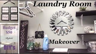 Laundry Room Makeover  | DIY Home Decor |  $50 Budget