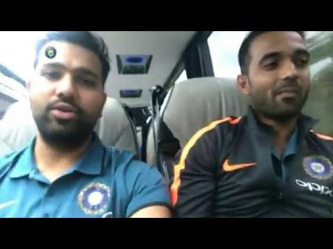 Rohit Sharma entertains his team mates on their way to Birmingham