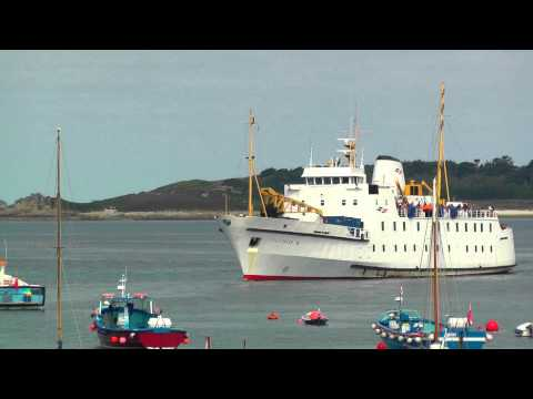 Scillonian III Arrives at Hugh Town Harbour, St Marys on The Isles of Scilly
