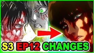 BLOODY LEVI Vs MIKASA! | ALL MAJOR CUTS & CHANGES | Attack on Titan Season 3 Episode 12 Ending Scene