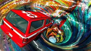 Beamng Drive - Car Falls Into Rainbow Vortex #2   BeamNG-Destruction