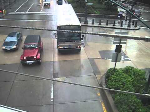 X9 bus under Chambers Street/Tribeca Bridge