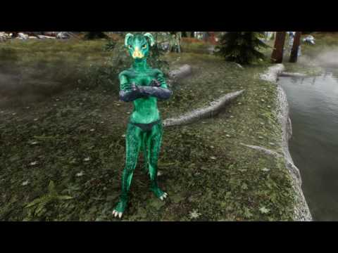 Skyrim Topless Green Argonian