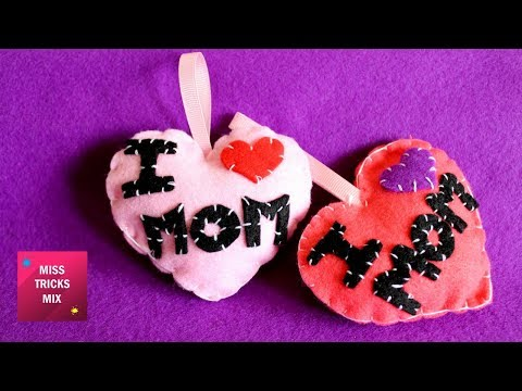 DIY :How to make a felt heart cushion key holder / Mother's Day gift - Kids Crafts