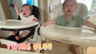 딸쌍둥이(10개월)/이유식전쟁/먹뱉시작/유모차에서재우기…