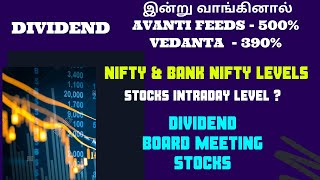 Today Dividend Stocks |Nifty Bank Nifty Levels | Stocks Levels |Important Updates|ALICE BLUE|TTZ