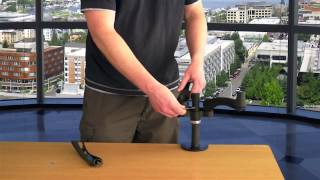 GSA12D Gas Spring Desk Mount Dual LCD Monitor Arm Stand w/ vesa bracket & monitor arms: free motion