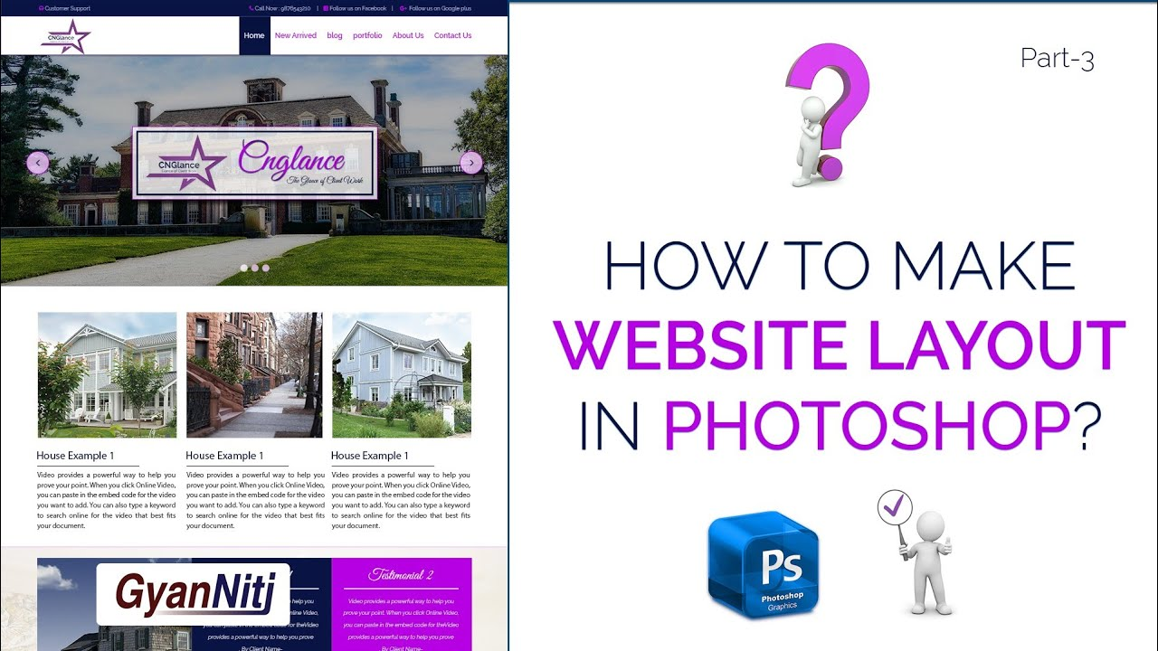 How to website layout in Photoshop | How to design Website layout in Photoshop | Part-3